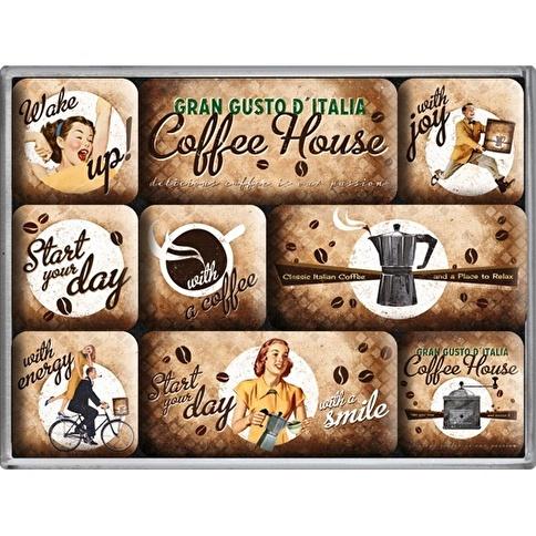 Nostalgic Art Coffee House Magnet Set 9P Renkli
